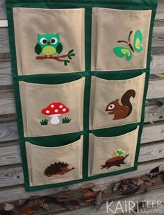 Kids organizer, hanging wall fabric pocket storage for books and toys, woodland - Kinder Ideen Baby Toy Storage, Kids Storage, Book Storage, Art Storage, Storage Ideas, Diy Deco Rangement, Hanging Fabric, Wall Fabric, Art Diy