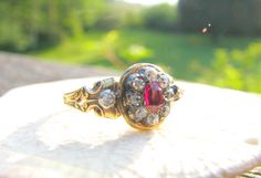 Antique Ruby Diamond Ring, Gorgeous Ruby, Old Mine Cut Diamonds, 18K Gold, Detail Work, Full Hallmarks and Hand Engraving, Circa 1850 by Franziska on Etsy https://www.etsy.com/listing/234690367/antique-ruby-diamond-ring-gorgeous-ruby