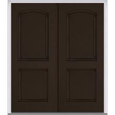 Milliken Millwork 72 in. x 80 in. 2-Panel Archtop Painted Fiberglass Smooth Double Prehung Front Door,