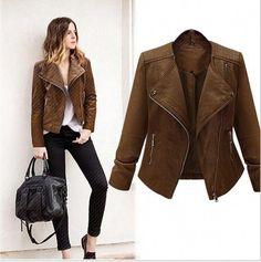 fe5c392294 Fashion PU Leather Jacket Women 2017 Turn-down Collar Full Sleeve Zipper  Jacket Outwear Ladies Basic Jackets Plus Size
