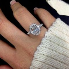 White Oval Cut Diamond Halo Engagement Ring In White Gold Finish Small Engagement Rings, Engagement Wedding Ring Sets, Halo Diamond Engagement Ring, Wedding Ring Bands, Cheap Wedding Rings, Bridal Rings, Wedding Jewelry, Black Hills Gold Jewelry, Blue Nile