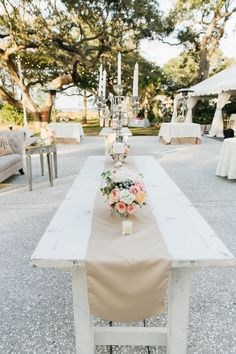 Love the beige table runner and tablecloths with ivory overlays Pastel & Black Tie Wedding | riverland studios