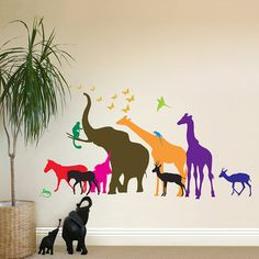 photos jungle animals wall sticker mural three outlet decal animal wild zoo leopards cheetahs tail