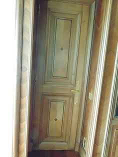 Lot 100 - Ornate carved panel door (single side only other panel plain) complete with bronze ironmongery 710mm