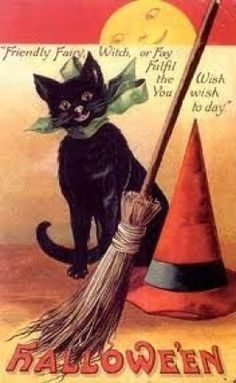 free cross stitch pattern for halloween of black cat, broom and witches hat. Large, nice pattern for the holiday.