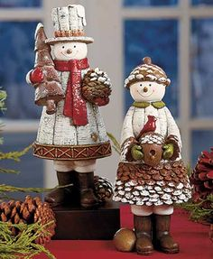 Winter Pine Cone Couple Figurines- decorate your home for the winter holidays with these snowmen