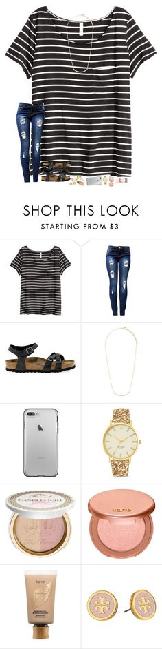 """""""y'know, the t-mobile commercials were kinda weird this year."""" by hopemarlee ❤ liked on Polyvore featuring H&M, Birkenstock, Forever 21, Kate Spade, Too Faced Cosmetics, tarte, Tory Burch and hmsloves"""