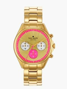 gold bazooka pink dial seaport chronograph - kate spade new york