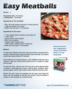 #TheGabrielMethod  Easy Meat Balls Recipe from Our Gabriel Method Recipe Book  https://www.TheGabrielMethod.com