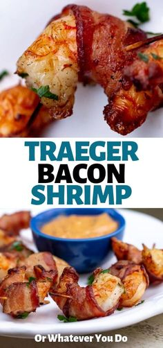 Traeger Bacon-Wrapped Shrimp are simple wood-fired appetizers that are fabulous for all traegernation traegerculinary smokeit woodpelletgrillrecipe grillit grilling bbq 145241156719285856 Traeger Recipes, Grilling Recipes, Seafood Recipes, Cooking Recipes, Healthy Recipes, Grilling Tips, Best Grill Recipes, Traeger Grills, Seafood