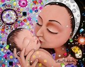 mom with baby . gift for new mom . Birth Gifts For Mom, Gifts For New Moms, Gifts For Kids, Mother Art, Mother And Child, Namaste, Night Portrait, Baby Illustration, Bright Pictures