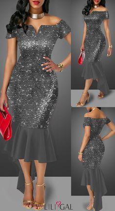 49 sequin embellished dark grey off the shoulder sheath dress liligal dresses Lace Dress Styles, African Lace Dresses, Latest African Fashion Dresses, African Print Fashion, Elegant Dresses, Sexy Dresses, Beautiful Dresses, Evening Dresses, Casual Dresses