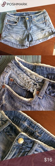 American eagle shorts These shorts are super cute! They have a fine lace detail. A little distressed detail in the front and the back. American Eagle Outfitters Shorts Jean Shorts