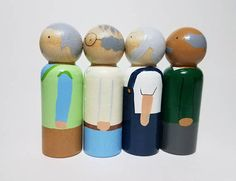 Now you can mix and match and make your perfect peg doll family. I have 6 designs each of moms, dads, big sisters, big brothers and little sisters for you to choose from. These peg dolls would make the perfect dollhouse people, or make a great accompaniment to a wooden block set or as
