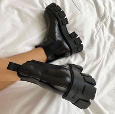 prada boots January 08 2020 at fashion-inspo Dr Shoes, Hype Shoes, Me Too Shoes, Shoes Sneakers, Shoes Heels, Prada Shoes, Sock Shoes, Look Body, Aesthetic Shoes