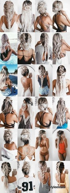 Hairstyle Ideas: The Top 24 Hairstyles 2016 by Blonde IG Model Emily Hannon . - Hairstyle Ideas: The Top 24 Hairstyles 2016 by Blonde IG Model Emily Hannon Plaits Hairstyles, Easy Hairstyles, Wedding Hairstyles, Hair Plaits, Blonde Hairstyles, Summer Hairstyles, Summer Hairdos, Fashion Hairstyles, Hair Updo