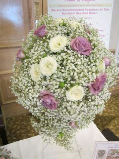 Teardrop Cascade Wedding Bouquet Arranged With: White Gypsophila (Baby's Breath), White Roses + Lavender Roses
