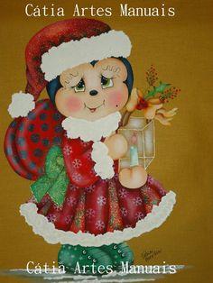 Para todas as amigas e visitantes do meu site uma joaninha de Natal com risco em tamanho natural e todas as cores que eu usei na pintura. O ...