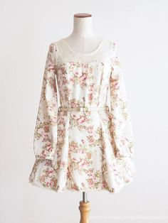 LIZ LISA Floral See-through Belt Ribbon OP Dress Tunic Hime gyaru Lolita Japan #LIZLISA #PeplumTunic #Party
