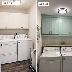 Ikea Laundry Room Cabinets, Laundry Room Shelves, Laundry Room Remodel, Laundry Room Organization, Kitchen Remodel, Small Laundry Rooms, Laundry Area, Ikea Floating Shelves, Laundry Room Lighting