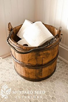 Wood Bucket Toilet Paper Holder for the farmhouse or rustic bathroom