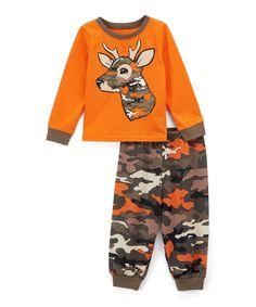 Take a look at this Orange Deer Camo Pajama Set - Toddler today!