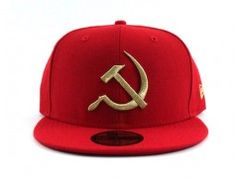 USSR New Era 59fifty Fitted Hat (RED METALLIC GOLD)