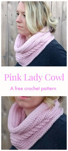 Free crochet pattern: Pink Lady Cowl by Croyden Crochet Crochet Scarves, Crochet Shawl, Crochet Clothes, Crochet Stitches, Free Crochet, Knit Crochet, Crochet Things, Pink Lady, Easy Crochet Patterns