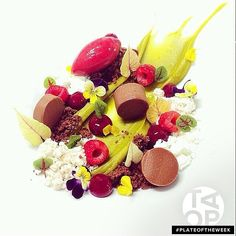 #PlateOfTheWeek Chocolate ganache, pistachio, white chocolate crémeux, raspberry sorbet, chocolate streusal, and dulcey powder by @bachour1234 #TheArtOfPlating