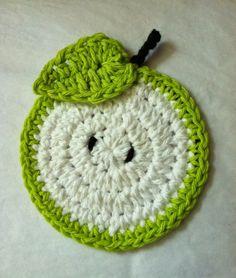 レイクビューコテージキッズ:もう一つの無料かぎ針編みのコースター柄! グリーンアップルコースター!