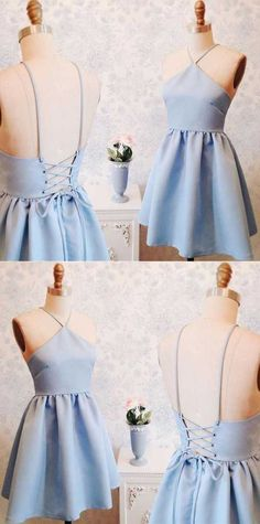 Sexy A-Line V-Neck Short Lace-up Blue Satin Homecoming Dress by Hiprom, $106.00 USD