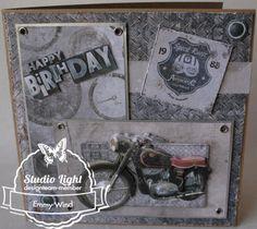 Industrial lijn gemaakt door Emmy Wind Man Birthday, Birthday Cards, Happy Studio, Studio Lighting, Masculine Cards, Mini Albums, Card Ideas, Scrapbook, Tags