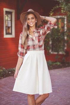 Love that red square shirt! Perfect in fall with nice jeans.