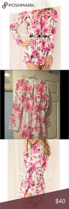 White & Pink Floral Romper White & Pink Floral Romper!! So adorable! Zipper back. Beautiful floral detail. Lined. Open detail in front with gorgeous neckline. Light long sleeves. Perfect for summer! Size small... from boutique. Would fit sizes 0 to 4. Basically great for an XS or S. boutique Dresses