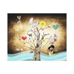 Cupcake tree Canvas Gallery Wrapped Canvas