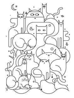cat illustration Johnathan Calugi - Cats I Illustrations - Gatos Colouring Pages, Coloring Books, Kids Coloring, Free Coloring, Adult Coloring, Embroidery Designs, Simple Embroidery, Modern Embroidery, Doodles