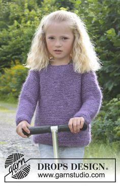 """Jenny - Knitted DROPS jumper in garter st in """"DROPS ♥ YOU #4"""". Size 3 - 12 years. - Free pattern by DROPS Design"""
