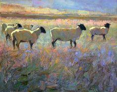 'Come Along' - Bonnie Posselli - Montgomery Lee Fine Art Sheep Paintings, Animal Paintings, Sheep Art, Farm Art, Landscape Paintings, Abstract Landscape, Landscapes, Art Drawings, Horse Drawings
