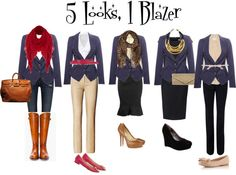 """""""5 Looks, 1 Blazer from Capsule Wardrobe"""" by lovefive on Polyvore"""