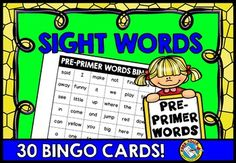 DOLCH PRE-PRIMER WORDSWHAT A FUN AND MOTIVATING WAY FOR KIDS TO READ AND PRACTICE SIGHT WORDS!   Children will surely learn their sight words while having lots of fun as they play this bingo game!  This resource includes 30 unique bingo cards, each containing 36 words.