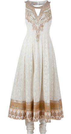 Cream embroidered anarkali available only at Pernia's Pop-Up Shop.