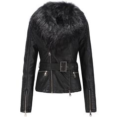 Bellivera Womens Faux Fur Collar Leather Short Jacket ($60) ❤ liked on Polyvore featuring outerwear, jackets, faux fur collar leather jacket, 100 leather jacket, short leather jacket, real leather jackets and short jacket