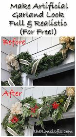 to Make Fake Garlands Look Fuller and More Realistic (For Free!) The Kim Six Fix: How to Make Fake Garlands Look Fuller and More Realistic (For Free!)The Kim Six Fix: How to Make Fake Garlands Look Fuller and More Realistic (For Free! Christmas Porch, Merry Little Christmas, Noel Christmas, Winter Christmas, All Things Christmas, Christmas Wreaths, Christmas Crafts, Front Porch Ideas For Christmas, Christmas Greenery