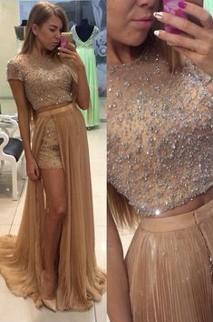 Stunning Two Pieces Prom Dresses 2016 Beadings Short Sleeve Split Party Gowns_High Quality Wedding & Evening Prom Dresses at Factory Price-27DRESS.COM