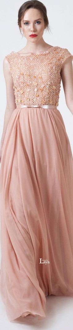 Abed Mahfouz ~ Couture Spring Sleeveless Peach Gown w Embroidered+Applique Bodice + Pleated Flowing Skirt 2015