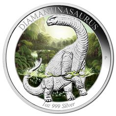 Buy the Australian Age of Dinosaurs – Diamantinasaurus 2015 Silver Proof Coloured Coin from The Perth Mint, featuring: Silver Coins For Sale, Gold And Silver Coins, Bullion Coins, Silver Bullion, Dinosaurs Series, Canadian Coins, Coin Display, Proof Coins, Australian Animals