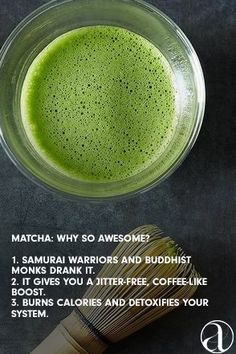 Why so awesome, green tea? Discover its many health benefits and more at AHAlife. Yummy Drinks, Healthy Drinks, Healthy Snacks, Yummy Food, Healthy Recipes, Juice Smoothie, Smoothie Drinks, Detox Drinks, Smoothies