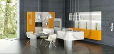 """furniture kitchen RODA, model Bimini (model line """"Modern space""""). Facades with 3D by milling"""