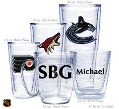 Design Your Own NHL Personalized Tervis Tumblers
