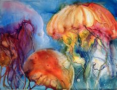 Jellyfish watercolor by Donna Maclure. This is one of my next painting projects so I'm glad I've found inspiration! :)